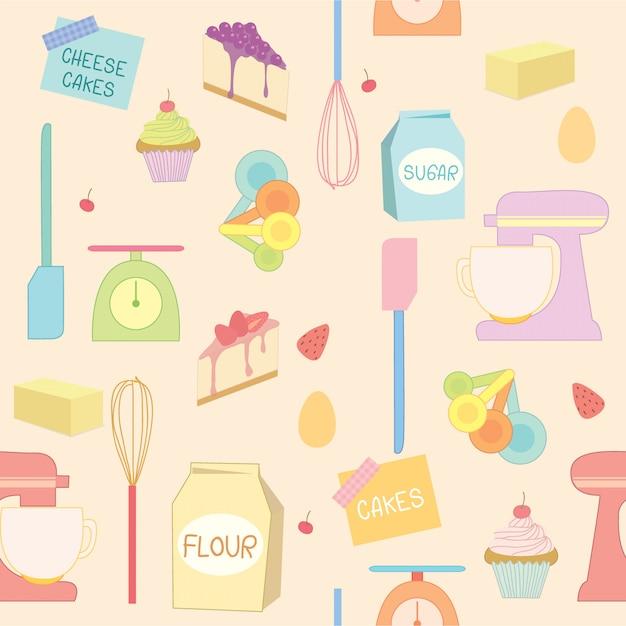 Modèle d'outils de boulangerie Vecteur Premium