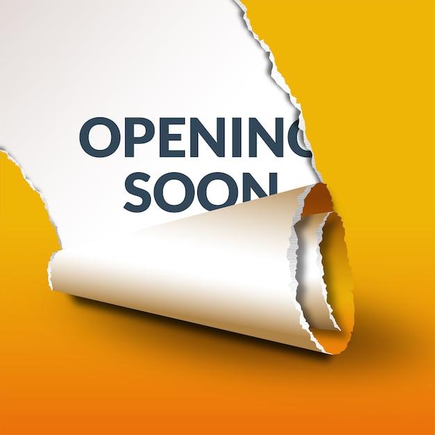 Modèle D'ouverture Bientôt Jaune Avec Effet De Papier Déchiré Vecteur Premium