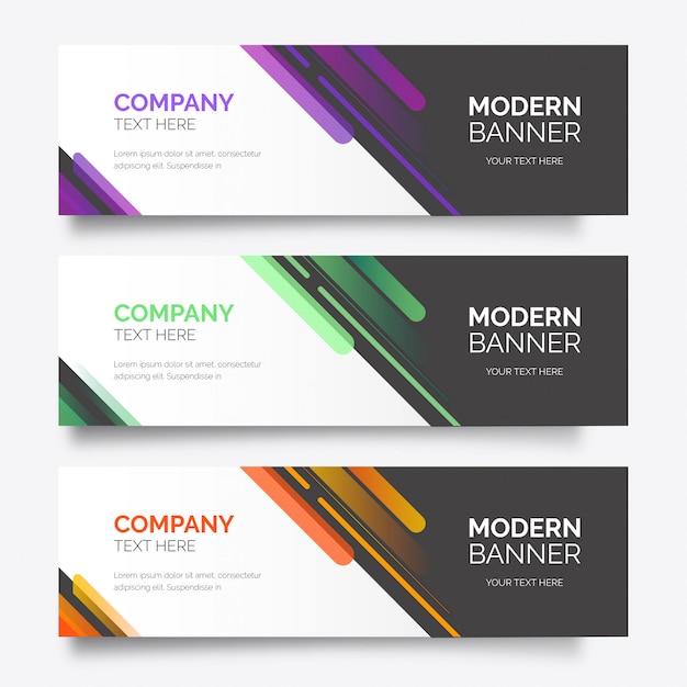 Modèle De Pack De Bannière Colorée Moderne Vecteur gratuit