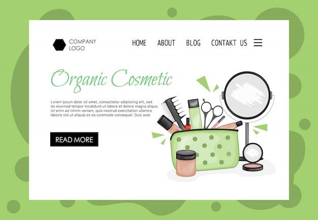 Modèle de page d'accueil pour les salons de beauté, les magasins de cosmétiques. style de bande dessinée. Vecteur Premium