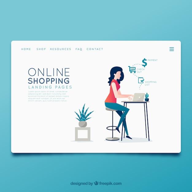 Modèle de page d'atterrissage avec concept de magasinage en ligne Vecteur gratuit