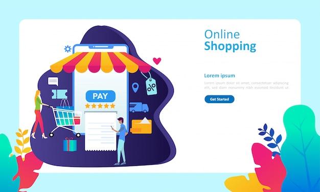 Modèle de page d'atterrissage avec concept de magasinage en ligne Vecteur Premium