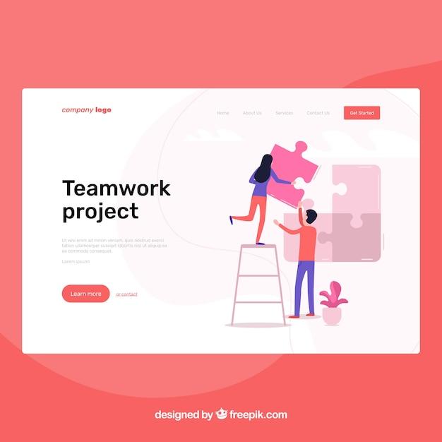 Modèle de page d'atterrissage avec le concept de travail d'équipe Vecteur gratuit