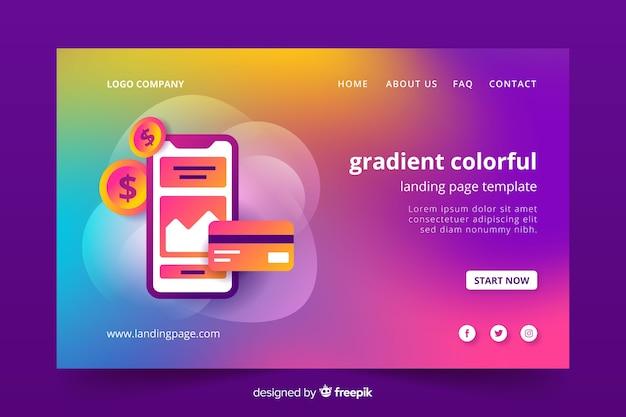 Modèle de page d'atterrissage dégradé coloré Vecteur gratuit