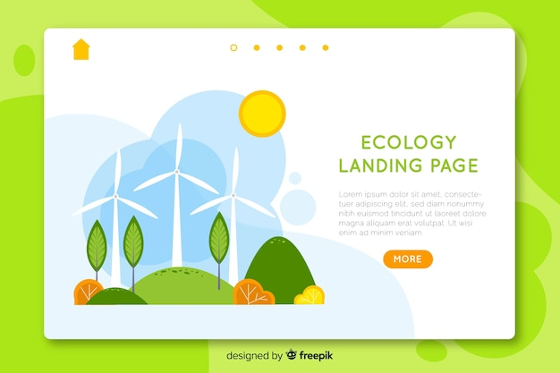 Modèle de page d'atterrissage écologie dessiné à la main Vecteur gratuit