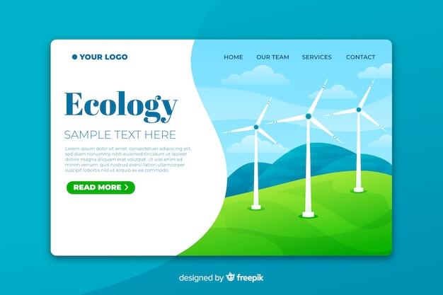 Modèle de page d'atterrissage écologique avec des éoliennes Vecteur gratuit