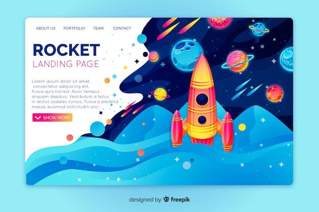 Modèle de page d'atterrissage d'espace réaliste Vecteur gratuit