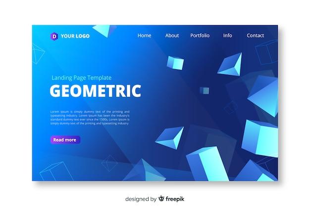 Modèle de page d'atterrissage de formes géométriques 3d Vecteur gratuit