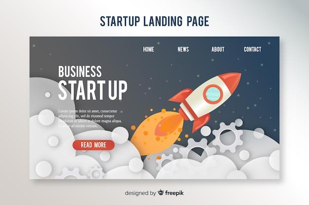 Modèle de page d'atterrissage avec une fusée Vecteur gratuit
