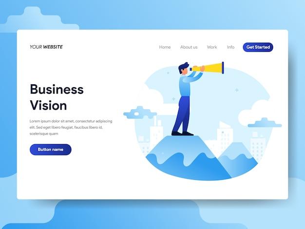 Modèle de page d'atterrissage d'homme d'affaires avec vision Vecteur Premium