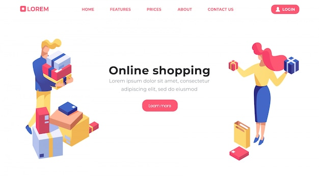 Modèle de page d'atterrissage isométrique de magasinage en ligne Vecteur Premium