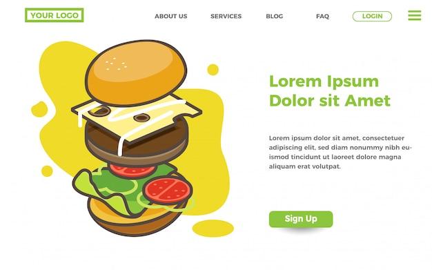 Modèle de page d'atterrissage magasin d'alimentation et de burger Vecteur Premium