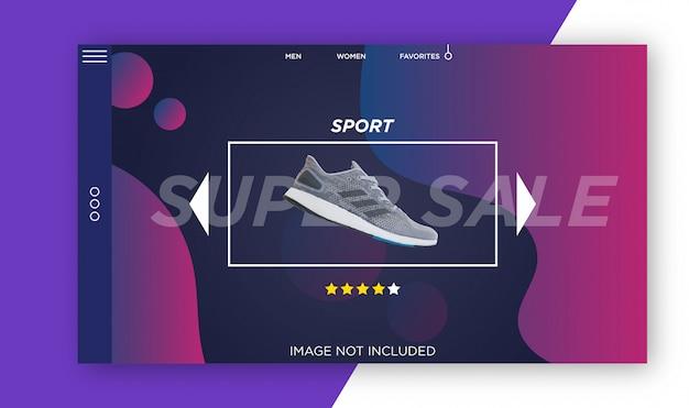 Modèle de page d'atterrissage, modèle de bannière de vente moderne. modèle de conception web super sale Vecteur Premium