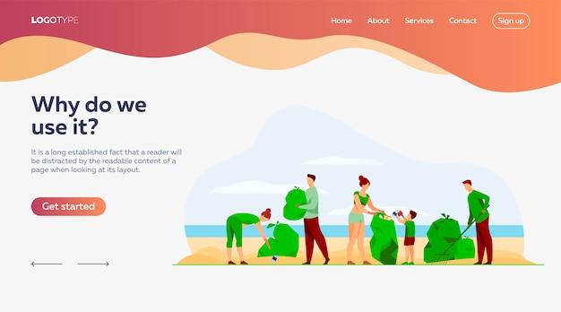 Modèle De Page D'atterrissage De Nettoyage Des Volontaires écologiques Vecteur gratuit