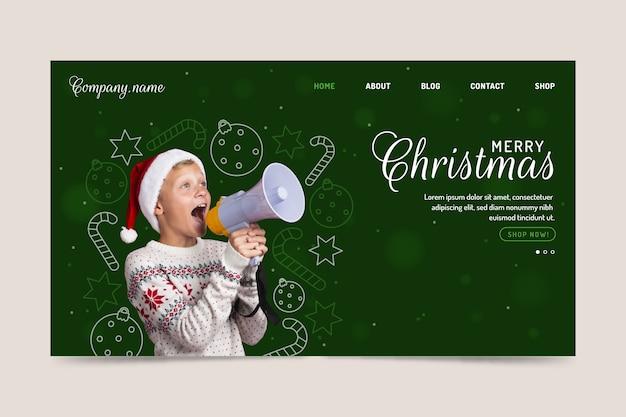 Modèle De Page D'atterrissage De Noël Avec Kid Vecteur gratuit