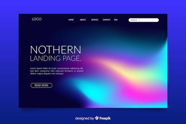 Modèle de page d'atterrissage northern lights Vecteur gratuit