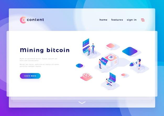 Modèle de page d'atterrissage pour les gens de bureau de l'exploitation bitcoin mining et interagir avec les ordinateurs illustration vectorielle Vecteur Premium