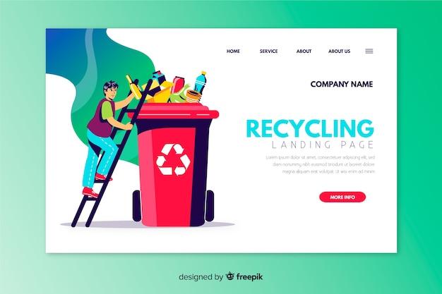 Modèle de page d'atterrissage de recyclage dessiné à la main Vecteur gratuit