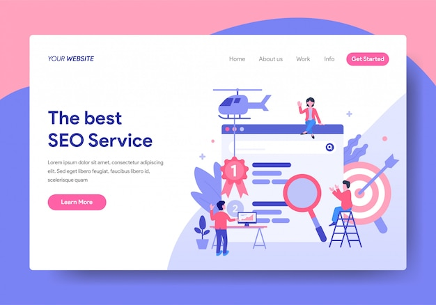 Modèle de page d'atterrissage de seo service design Vecteur Premium