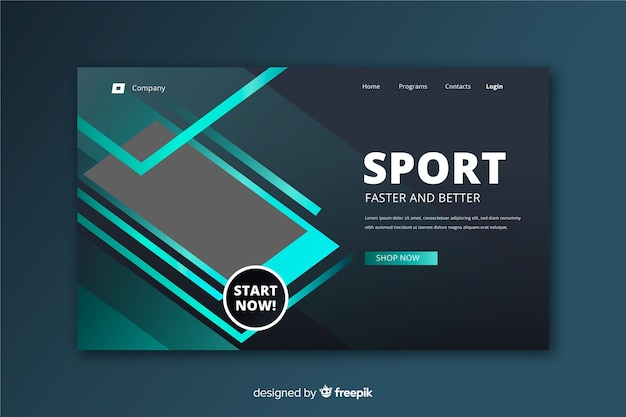 Modèle de page d'atterrissage sport minimaliste Vecteur gratuit