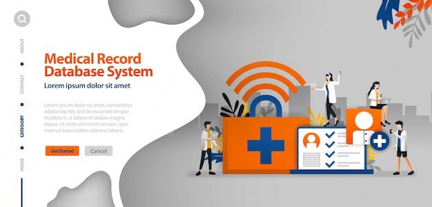 Modèle de page d'atterrissage avec système de base de données d'enregistrement médical, internet wifi pour aider à enregistrer le concept d'illustration de vecteur de la maladie histoire du patient Vecteur Premium