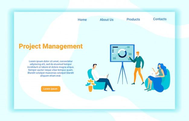 Modèle De Page D'atterrissage De Vecteur De Gestion De Projet Vecteur Premium