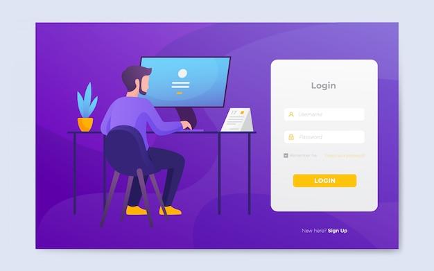 Modèle de page de connexion de site web plat moderne Vecteur Premium