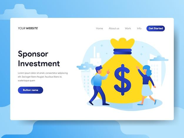 Modèle de page de départ de l'investissement en sponsoring Vecteur Premium