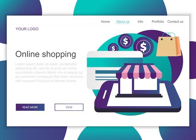 Modèle de page de destination des achats en ligne Vecteur Premium