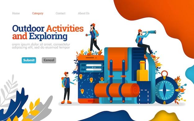 Modèle de page de destination. activités de plein air et exploration. préparez-vous pour le camping, illustration vectorielle Vecteur Premium