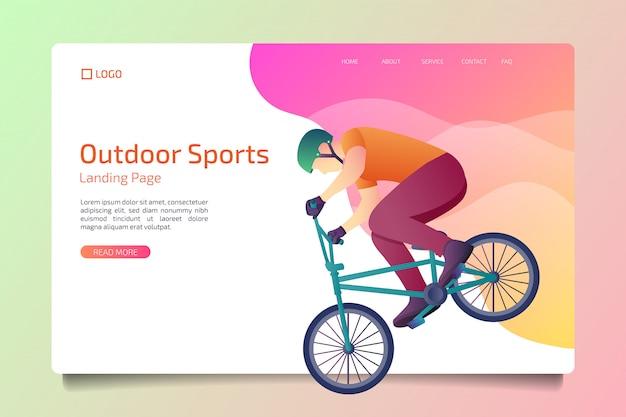 Modèle de page de destination d'activités de plein air Vecteur Premium