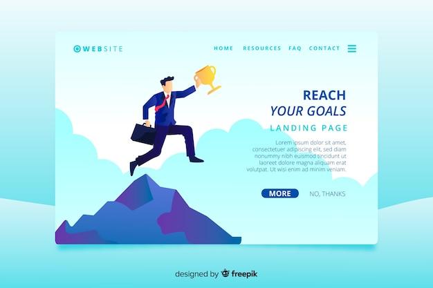Modèle de page de destination d'affaires avec l'homme d'affaires Vecteur gratuit