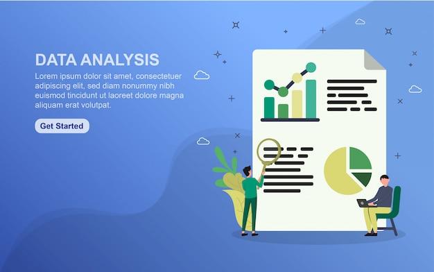 Modèle de page de destination d'analyse des données. concept de design plat de design de page web pour site web. Vecteur Premium