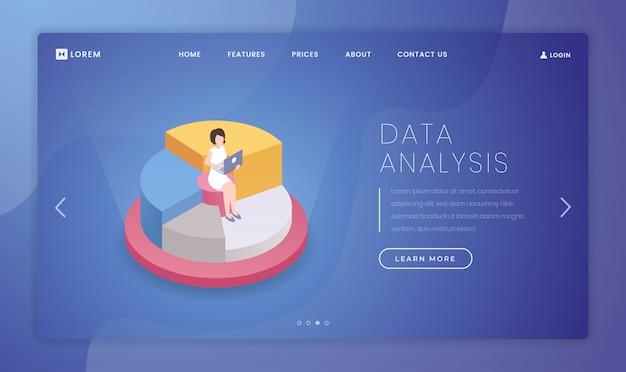 Modèle de page de destination d'analyse de statistiques de marché Vecteur Premium
