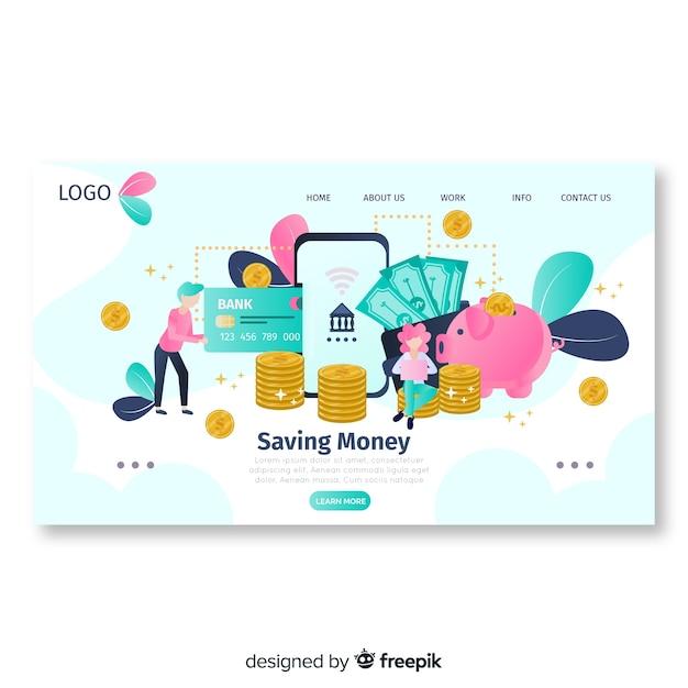 Modèle de page de destination d'argent plat Vecteur gratuit