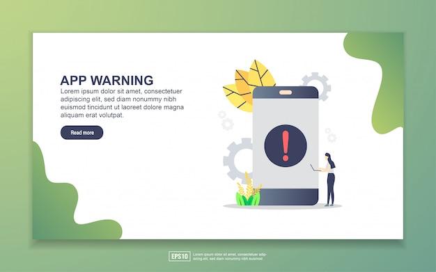 Modèle de page de destination de l'avertissement de l'application. concept de design plat moderne de conception de page web pour site web et site web mobile. Vecteur Premium