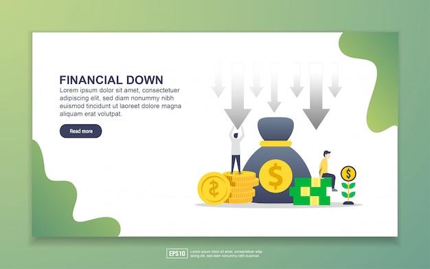 Modèle de page de destination de la baisse financière Vecteur Premium