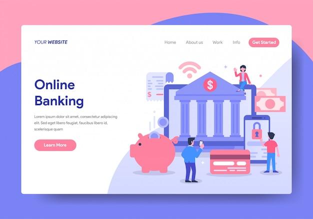 Modèle de page de destination de la banque en ligne Vecteur Premium