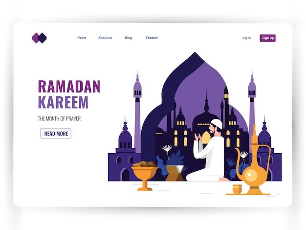 Modèle de page de destination blanche du mois sacré de prière, ramadan kareem. Vecteur Premium