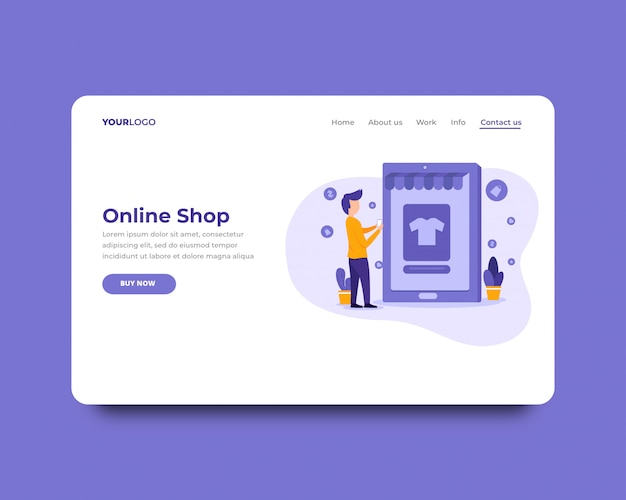Modèle de page de destination de boutique en ligne Vecteur Premium