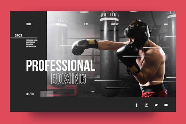 Modèle De Page De Destination De Boxe Professionnelle Vecteur gratuit