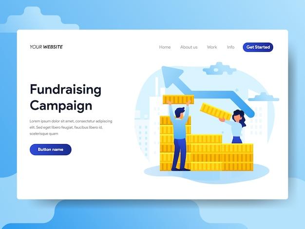 Modèle de page de destination de la campagne de financement Vecteur Premium