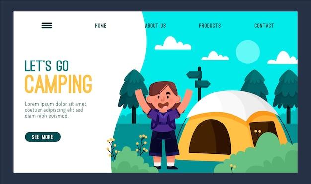 Modèle De Page De Destination De Camping Vecteur gratuit