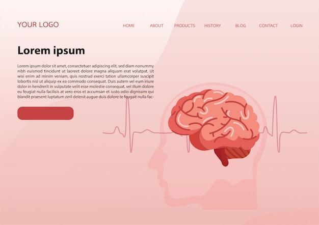 Modèle De Page De Destination Avec Un Cerveau Vecteur Premium