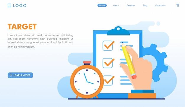 Modèle de page de destination cible Vecteur Premium