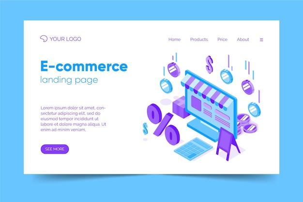Modèle De Page De Destination De Commerce électronique Isométrique Vecteur gratuit