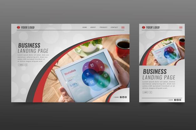 Modèle de page de destination commerciale avec photo Vecteur gratuit