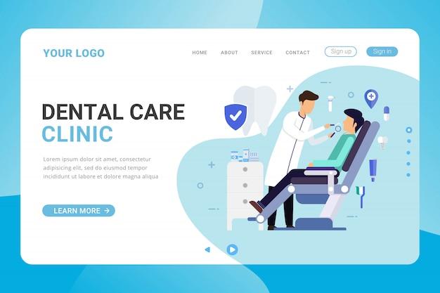 Modèle De Page De Destination Concept De Conception De Clinique De Soins Dentaires Vecteur Premium