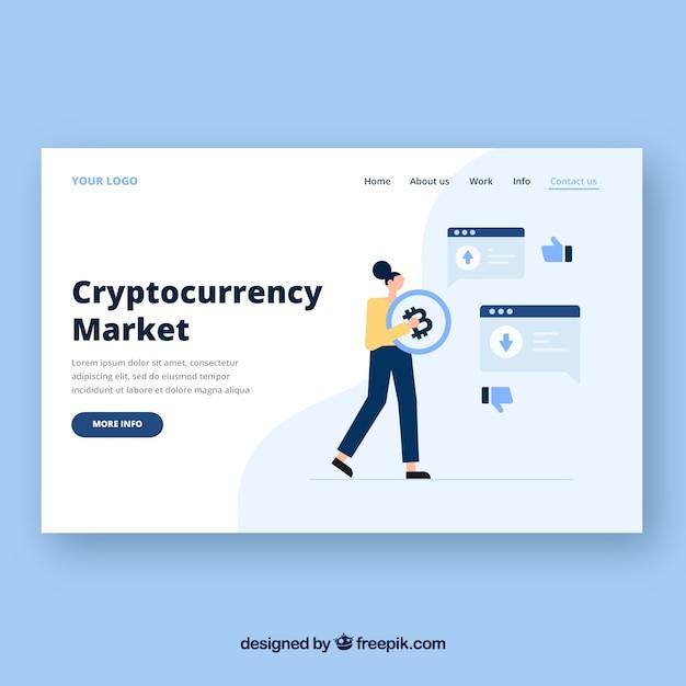 Modèle de page de destination avec concept de cryptocurrency Vecteur gratuit