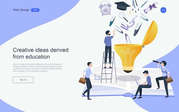 Modèle de page de destination. concept d'éducation pour l'apprentissage, la formation et les cours en ligne. Vecteur Premium